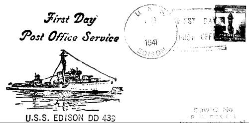 U.S. Postal Envelope recognizing the commissioning of the USS Edison DD-439 in January 1941.