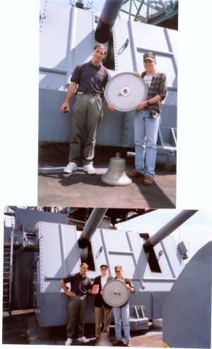 USS Edison DD-439 ship's bell and helm, with caretakers shown on the stern of the USS Joseph P. Kennedy alongside the USS Massachusetts at Fall River Massachusetts about May, 2000.