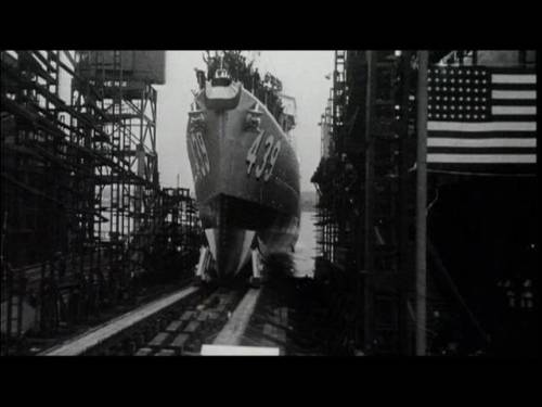 The USS Edison, DD-439, slides down the ways as she is launched from Federal Shipbuilding and Drydock in New Jersey, in November 1940, to be commissioned at the Brooklyn Navy Yard, to join hazardous
