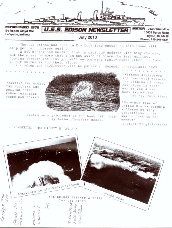 The front page of the July 2010 edition of the USS Edison DD-439 Newsletter published by Jean Whetstine of Byron Michigan.